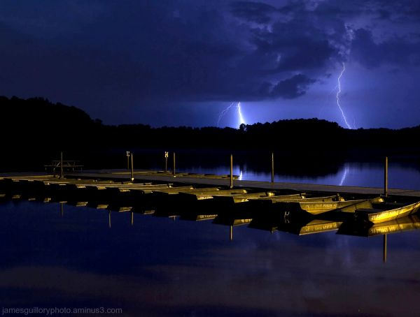 lightning storm over lake benson north carolina