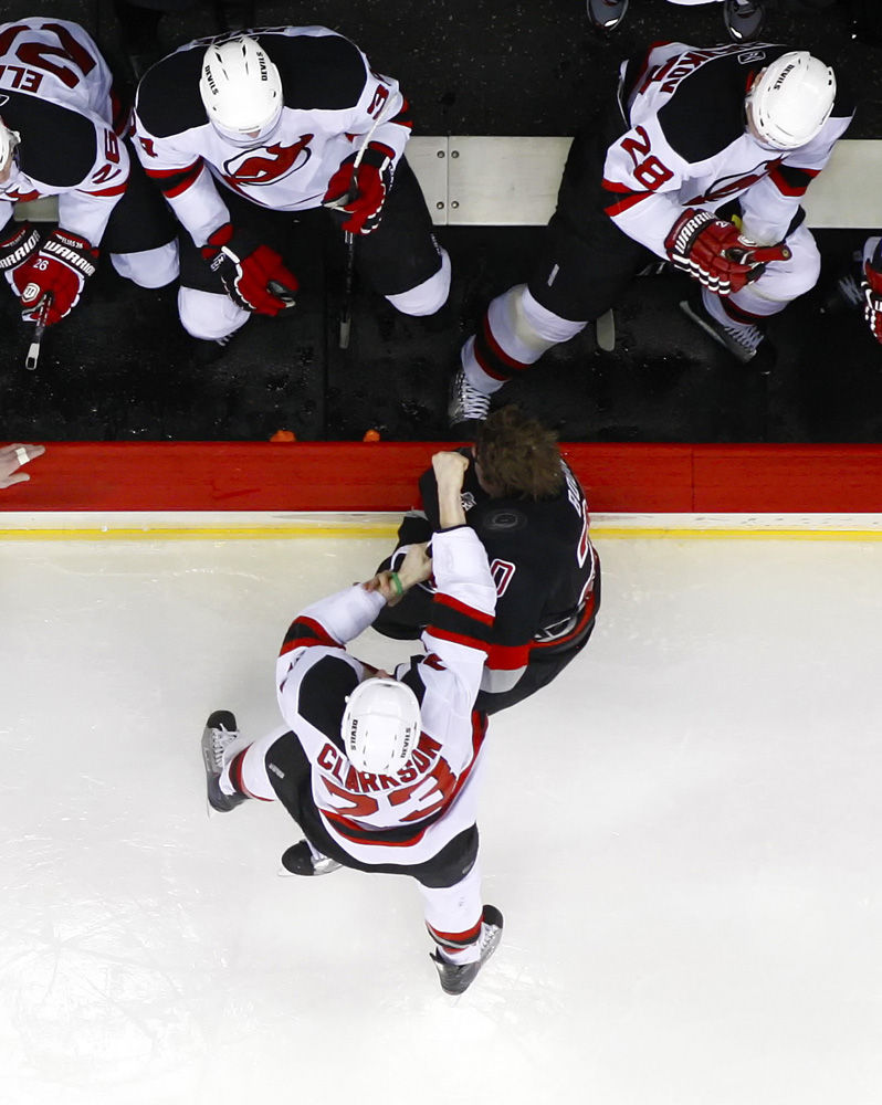 david clarkson and troy bodie fight from overhead