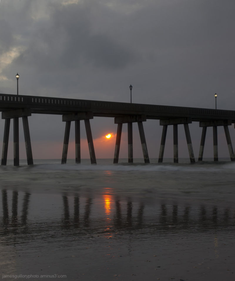 sunrise at  wrightville beach pier, north carolina