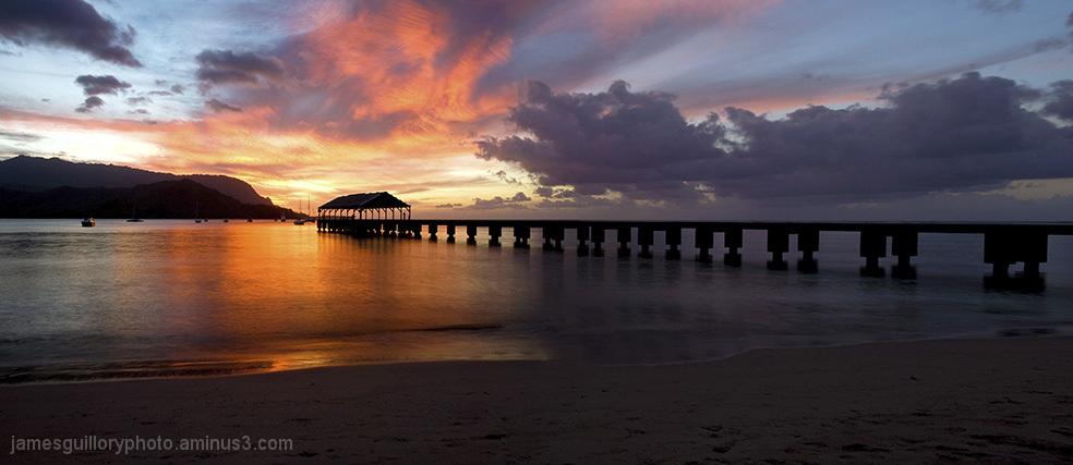 hanalei bay, kauai, hawaii, storm, sunset,
