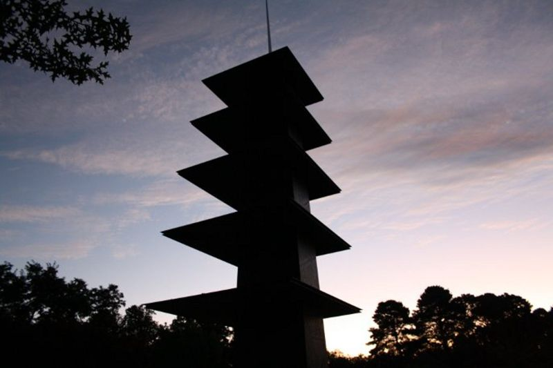 sculpture at sunset