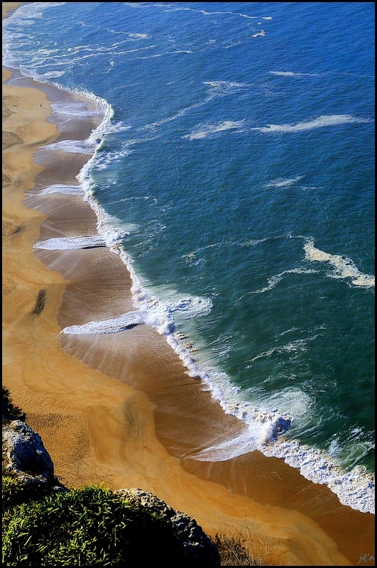 vue aérienne de la plage de Nazaré