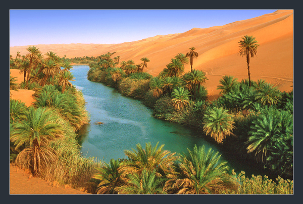 Oum-el-Ma lake in libya desert