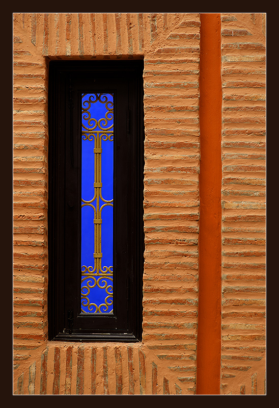 Window in Majorelle Garden, Marrakech, Morocco