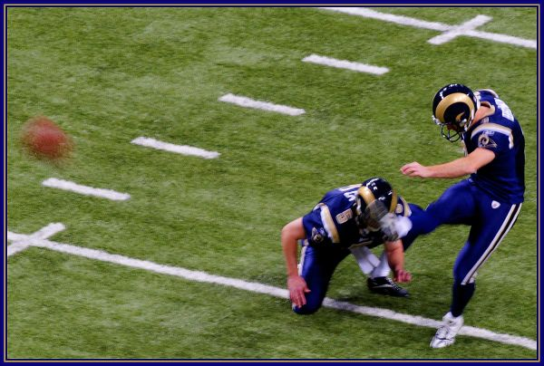 Josh Brown of the St Louis Rams doing what he does