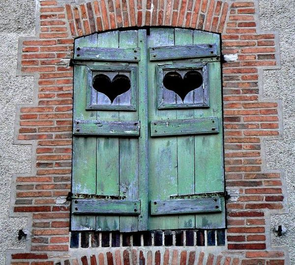 closed shutters with hearts