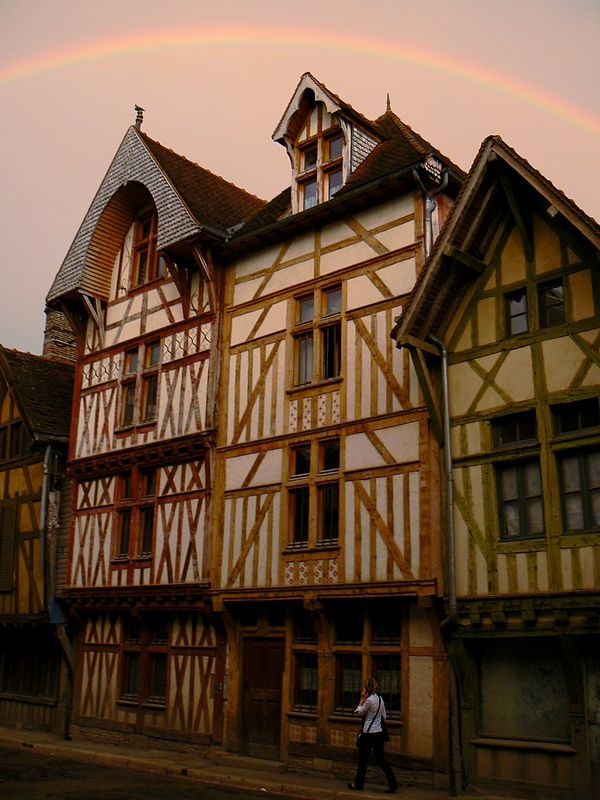 rainbow and half-timbered houses