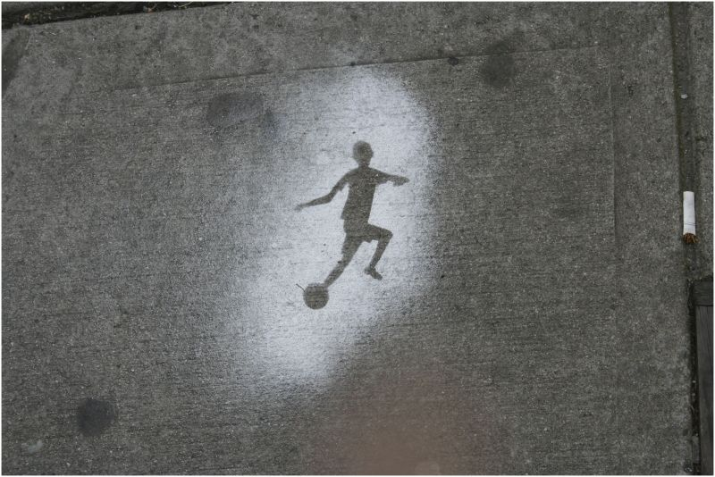 football player stencil art