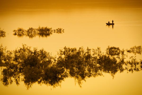 A fishing boat on the lake of Ouarzazate