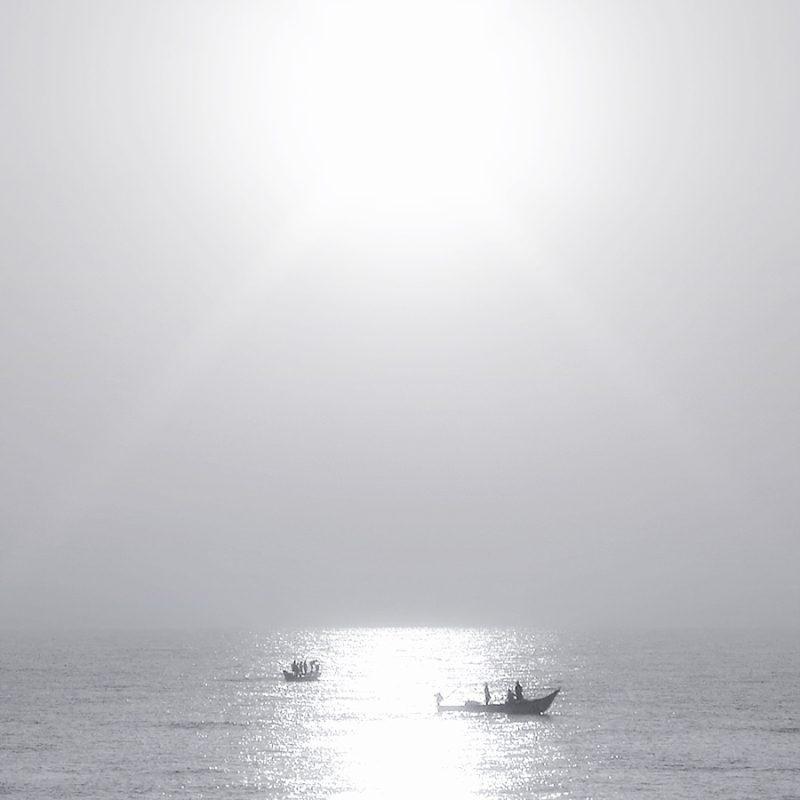 Fishing boats in the Bay of Bengal, Chennai, India