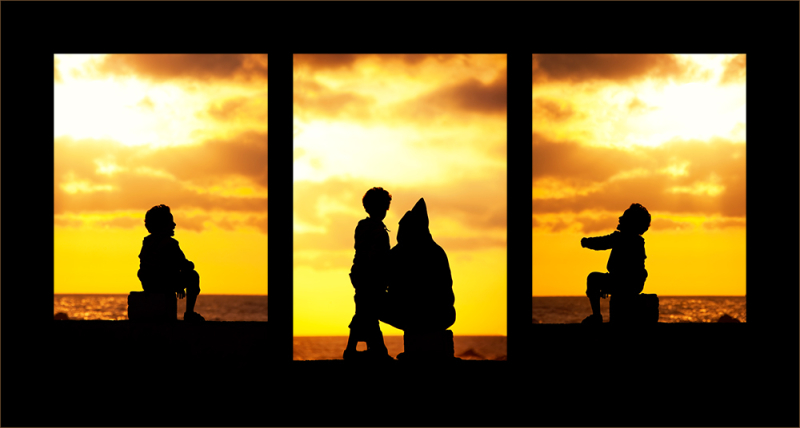 Silhouette triptych scene at the beach
