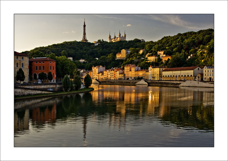Fourviere Lyon sunrise Saone river