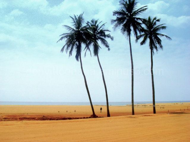 Ghana beach border with Togo