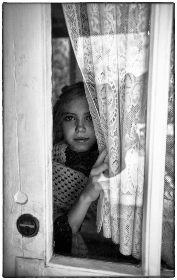 girl at door