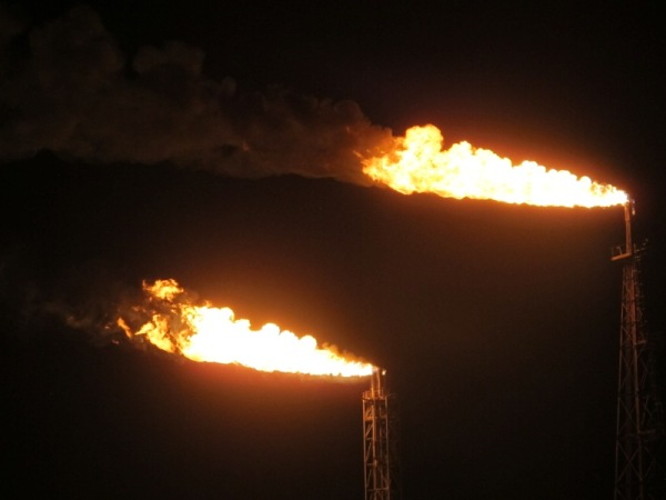 gas flare at night