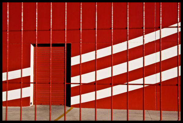 Lines and red door...