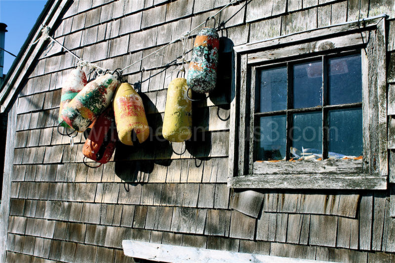 buoys hanging on building in nova scotia