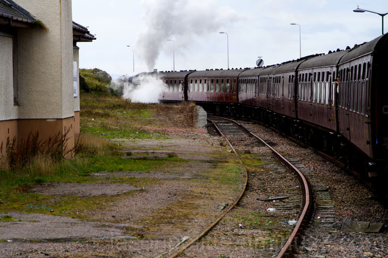 Jacobite steam train pulls away from Mallaig