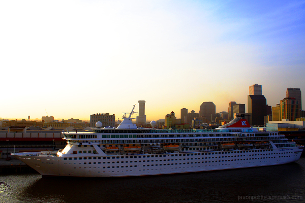 The Balmoral cruise ship docked in New Orleans
