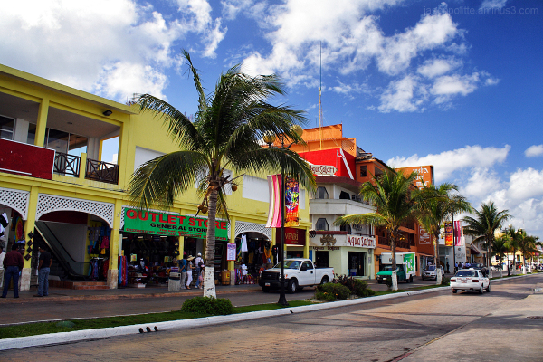 The streets and shops of Cozumel for tourists