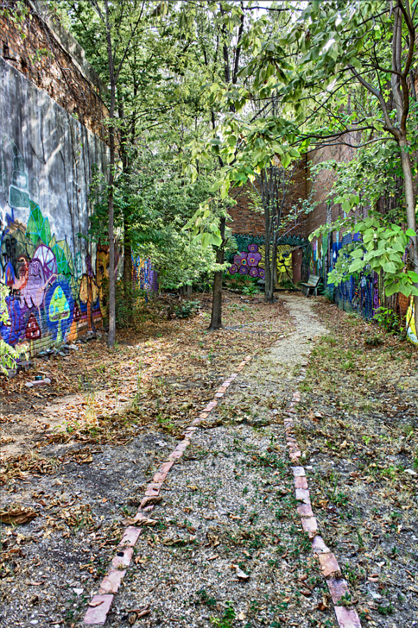 Graffiti covered alcove in Conway, Arkansas