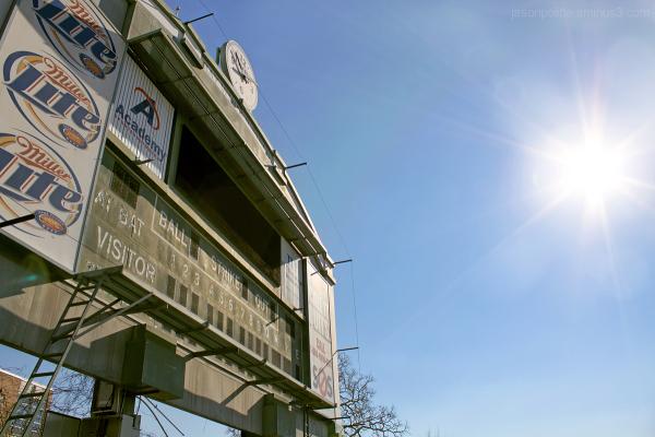 The old scoreboard of Ray Winder Field