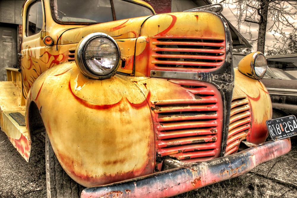 Old flames abound on this old Dodge truck.