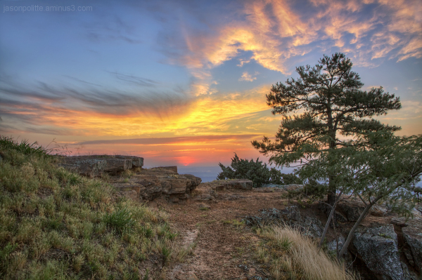 Fiery Sunrise from Atop Mt. Nebo, Arkansas