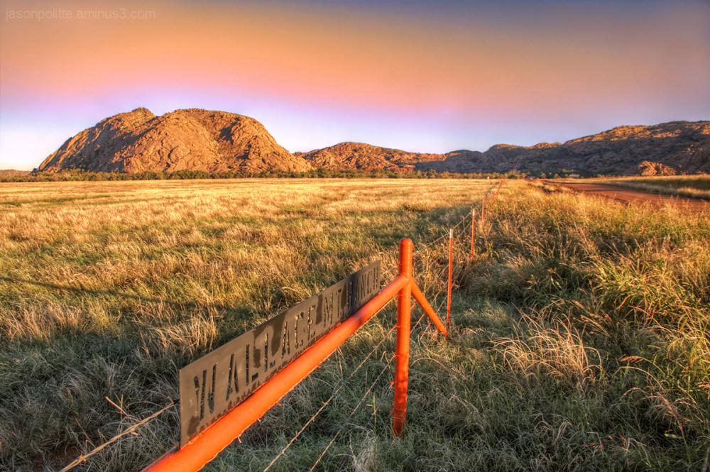Orange Sky over Wallace Mountain Oklahoma