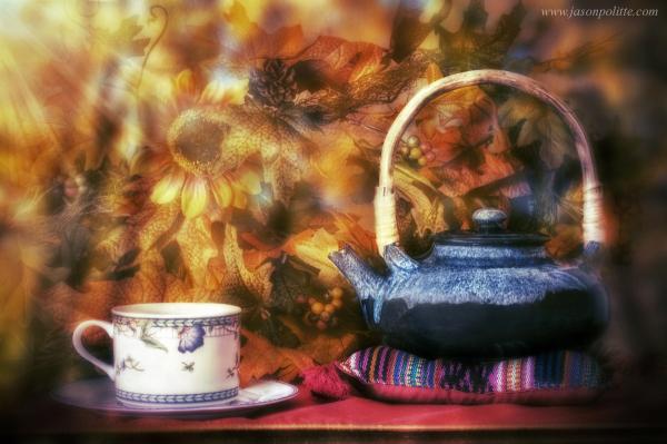 A hot tea on a crisp autumn day.