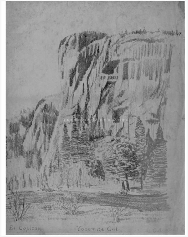 YOSEMITE CANYON RENDERED IN PENCIL