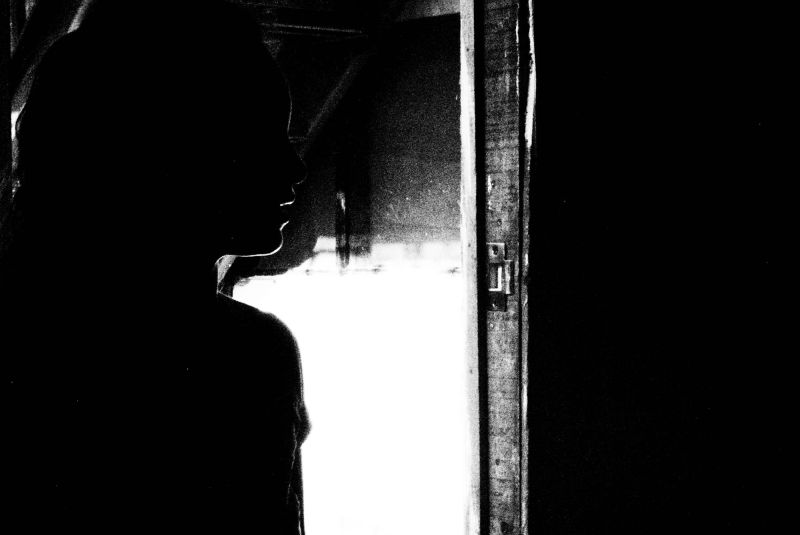 Silhouette dark doorway black and white