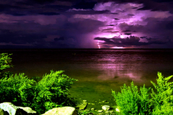 lightning on the sea