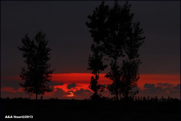 sunset of a dark day