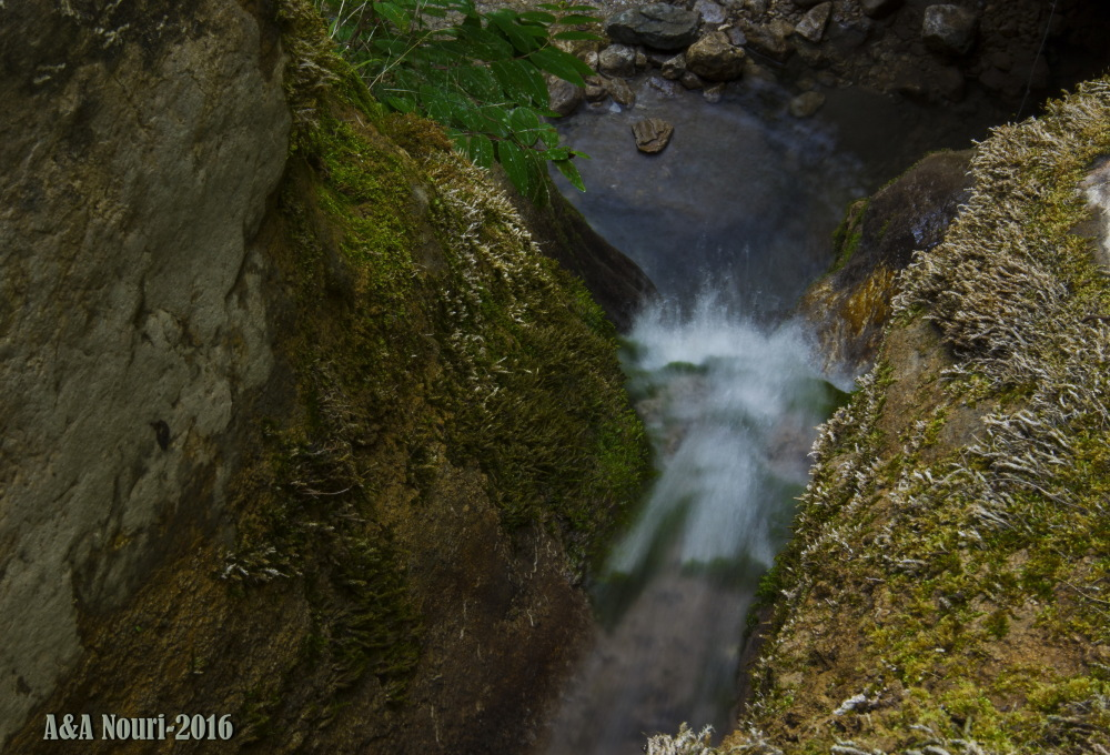 high view of a waterfall