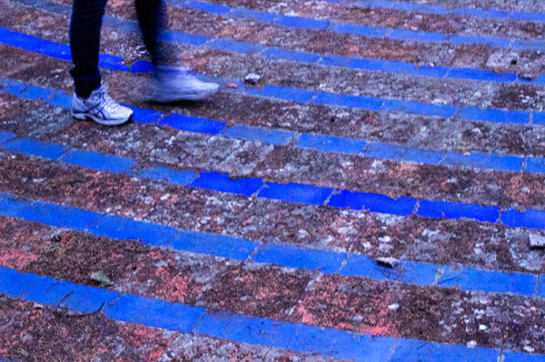 blue stripes on the ground