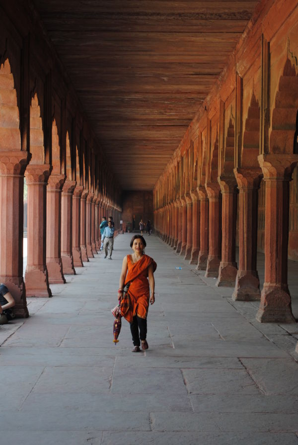 My wife at the Taj Mahal