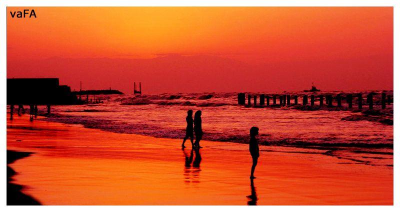 Sunset in Caspian Sea.Iran