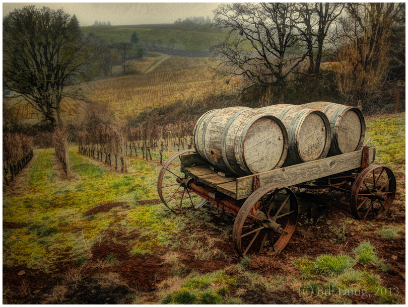 Wine Barrels on Wagon