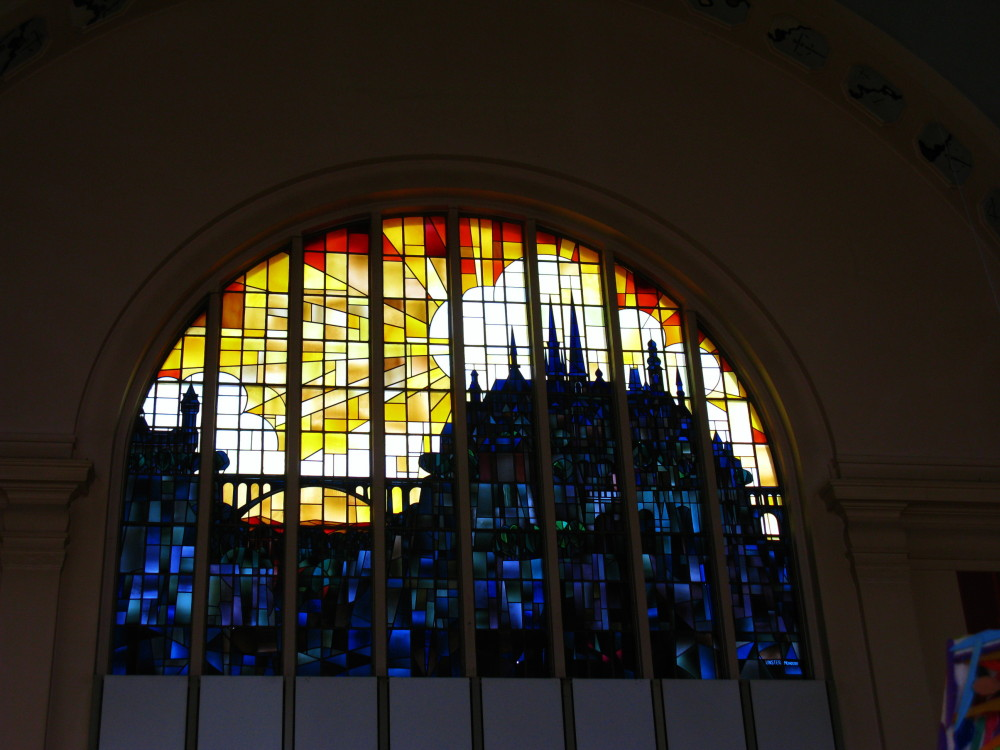 Stained glass window in Luxembourg Main Station