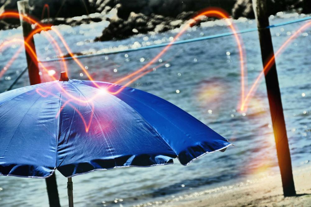 Viser une limite au retour de la marée au parasol