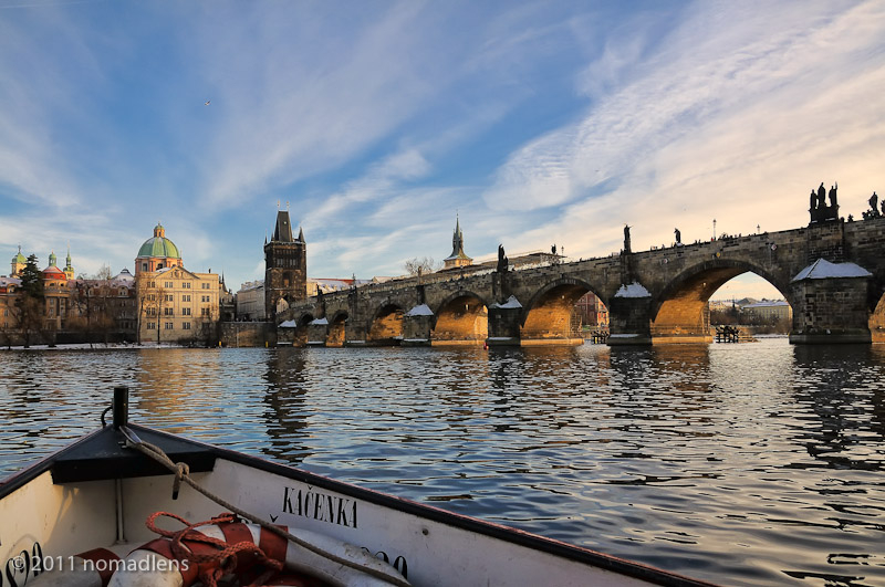 Crossing the Vlatva in Prague, Czech Republic