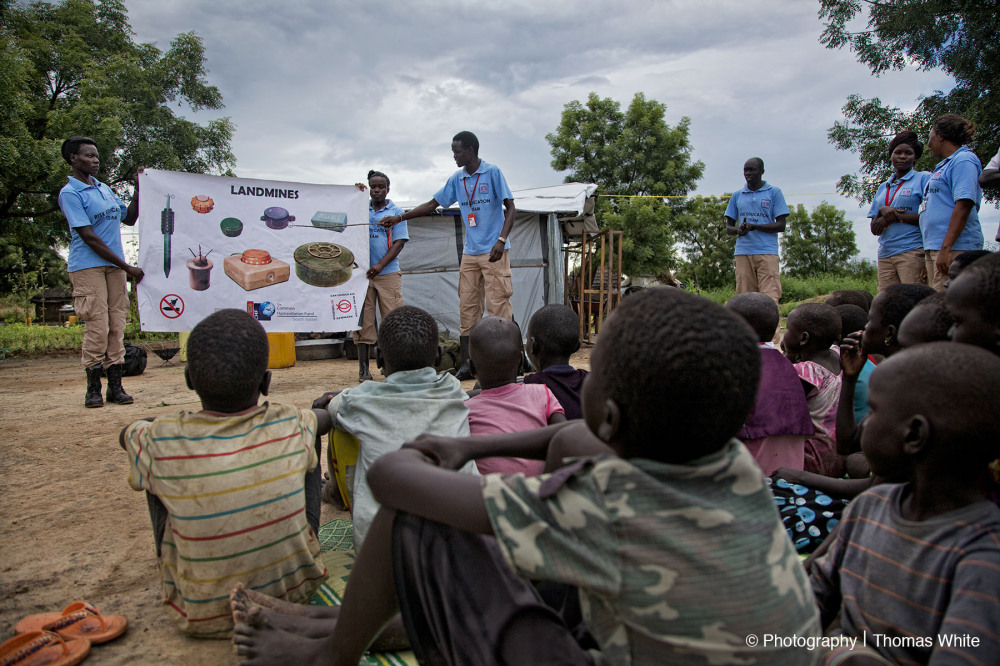 Teaching landmine safety in Bor, South Sudan