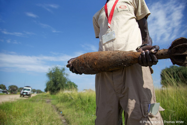 Clearing unexploded ordinance in Bor, South Sudan