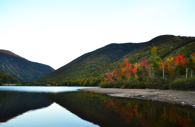 Fall colors and echo Lake, New Hampshire