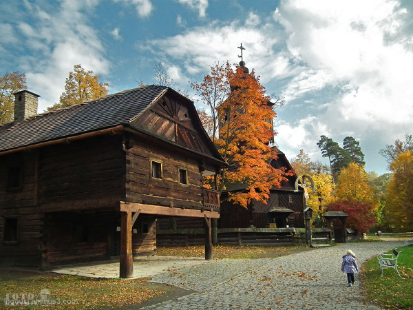 wooden, house, willage, skansen