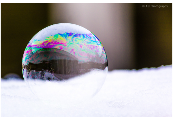 Before frozen soap bubble