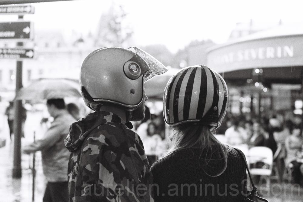 Couple with Helmet in Paris