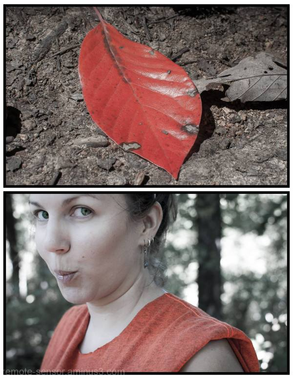 diptych of girl and leaf