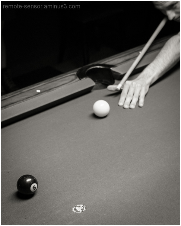 lining up the shot on the eightball